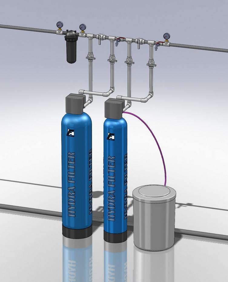 Водоподготовка для коттеджа # 17. 2500 л/час (3-5 открытых крана) Растворенное железо до 6 мг/л, жесткость до 10